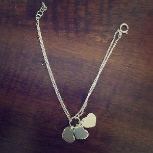 •Sterling Silver Bracelet with 3 hearts •